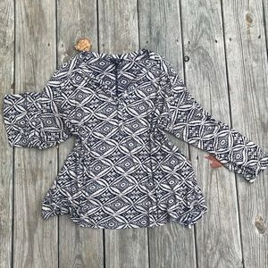 Lucky Brand patterned top with open back detail